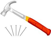 Clavos del martillo y de la fijación Foto de archivo libre de regalías