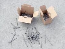 Clavos del metal de la construcción Imagen de archivo libre de regalías