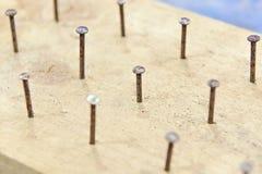 Clavos en tablero Fotografía de archivo