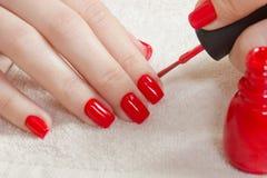 Clavos manicured hermosos del ` s de la mujer con el esmalte de uñas rojo en la toalla blanca suave Foto de archivo
