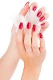 Clavos y dedos hermosos con la flor Fotografía de archivo