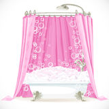 Claw-foot bathtub and a pink curtain on the hoop Royalty Free Stock Photo