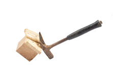 Claw hammer on wood Stock Images
