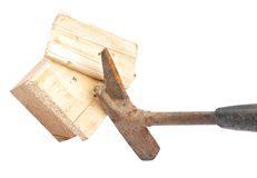 Claw hammer on wood Royalty Free Stock Photos