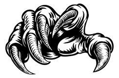 Claw Hand Monster Talons. Monster claw hand talons in a vintage woodcut style royalty free illustration