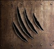 Claw marks on rusty metal armor with rivets 3d illustration Stock Photos