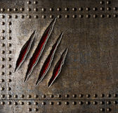Claw scratches on armor metal wall Royalty Free Stock Photography