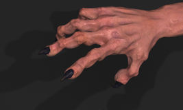 Clawed Hand. Clawed 3d monster hand model, dark background Stock Images