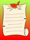 A clawed hand grasps the parchment. Royalty Free Stock Photos