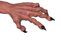Clawed Hand, over White. Clawed 3d monster hand model, over white Stock Photo
