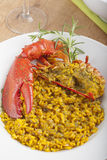 Clawed Lobster with yellow rice Royalty Free Stock Photography