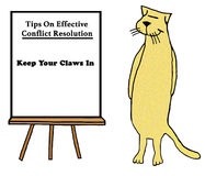 Claws In. Cartoon about tips on effective conflict resolution by a cat: `keep your claws in Stock Photos
