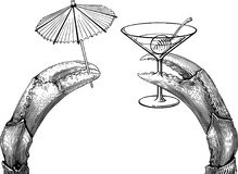 Claws cocktail. Black and white  illustration with a twain crab`s claws holding things. The things can not be separated from claws Stock Photo