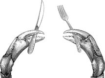 Claws cutlery. Black and white  illustration with a twain crab`s claws holding things. The things can not be separated from claws Stock Photography