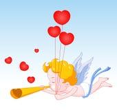 Claxon que sopla del Cupid con los corazones stock de ilustración