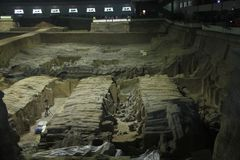 The clay army of the emperor Qin Shi Huang. Excavations. Archaeological excavations of the clay army of the emperor Qin Shi Huang. The terracotta army is a stock photos