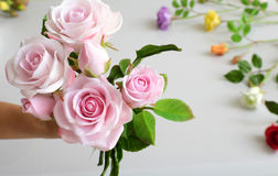 Clay art, bouquet of roses flower Stock Photography