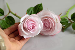 Clay art, pink roses flower Stock Photography