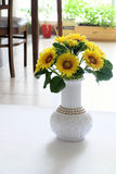Clay art, yellow sunflower pot Royalty Free Stock Images