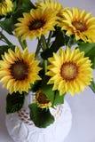 Clay art, yellow sunflower pot Stock Photos