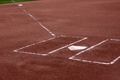 Clay Batters Boxes. A close-up of the batters boxes and home plate on a vacant baseball diamond Stock Image