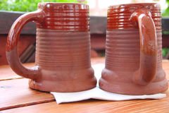 Clay beer mugs Stock Images
