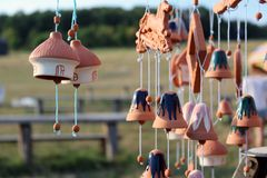 Clay bells. Hanging for sale Royalty Free Stock Images