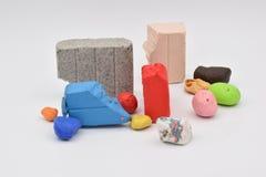 Clay Bits colorido en blanco fotos de archivo libres de regalías