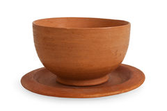 Clay Bowl. A clay ceramic bowl shot on white background Stock Image