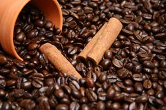 Clay bowl with coffee beans and cinnamon Royalty Free Stock Image