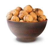 Clay Bowl Full Of Walnuts Stock Images
