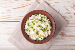 Goat cream cheese with green onions, dip sauce Stock Image