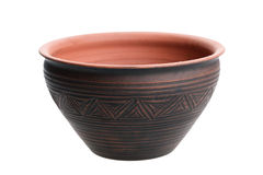 Clay Bowl isolou-se no branco Fotos de Stock Royalty Free