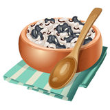 Clay bowl with white and black beans in it Stock Images