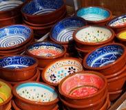 Clay Bowls In Albufeira Portugal colorido imágenes de archivo libres de regalías