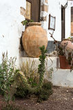 Clay-bowls at stairs of the house in Betancuria on Fuerteventura. Canary Isla Royalty Free Stock Photos