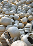Clay Bowls & Tea Pots Drying in The Sun, Vietnam Stock Images