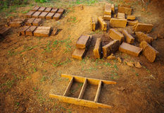 Clay brick for build the clay house. Clay brick for build the house in countryside of Thailand, Folk wisdom concept Stock Image