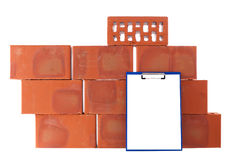 Clay bricks. Isolated on the white Stock Photos
