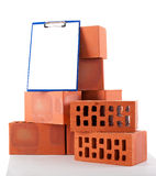 Clay bricks. On white Stock Images