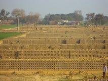 Clay bricks getting dried at a Brick Kiln Royalty Free Stock Photo
