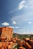 Clay bricks stacked. Stock Image