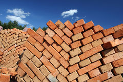 Clay bricks stacked. Stock Images