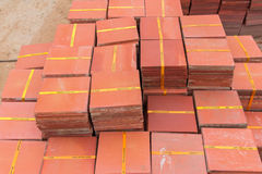 CLAY BRICKS AND TILES FOR WALKWAY Stock Photos