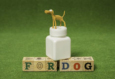 Clay brown dog stand on white medicine bottle Royalty Free Stock Photography