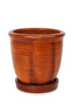Clay brown flowerpot with stripes Stock Photography
