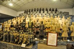 Clay busts in the museum. Souvenir workshop of the terracotta army. XIAN, CHINA - October 29, 2017: Clay busts in the museum. Souvenir workshop of the royalty free stock photos