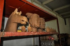 Clay busts in the museum. Souvenir workshop of the terracotta army. XIAN, CHINA - October 29, 2017: Clay busts in the museum. Souvenir workshop of the royalty free stock image