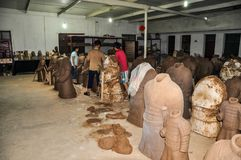 Clay busts in the museum. Souvenir workshop of the terracotta army. XIAN, CHINA - October 29, 2017: Clay busts in the museum. Souvenir workshop of the royalty free stock photography