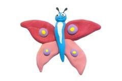 Clay Butterfly Isolated On White variopinto sveglio piacevole Immagine Stock Libera da Diritti